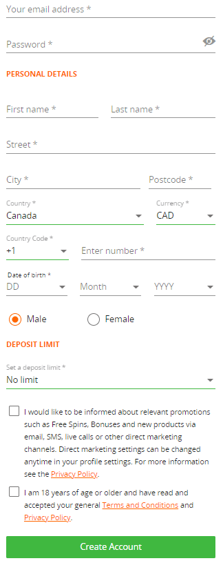how to register on betsson canada